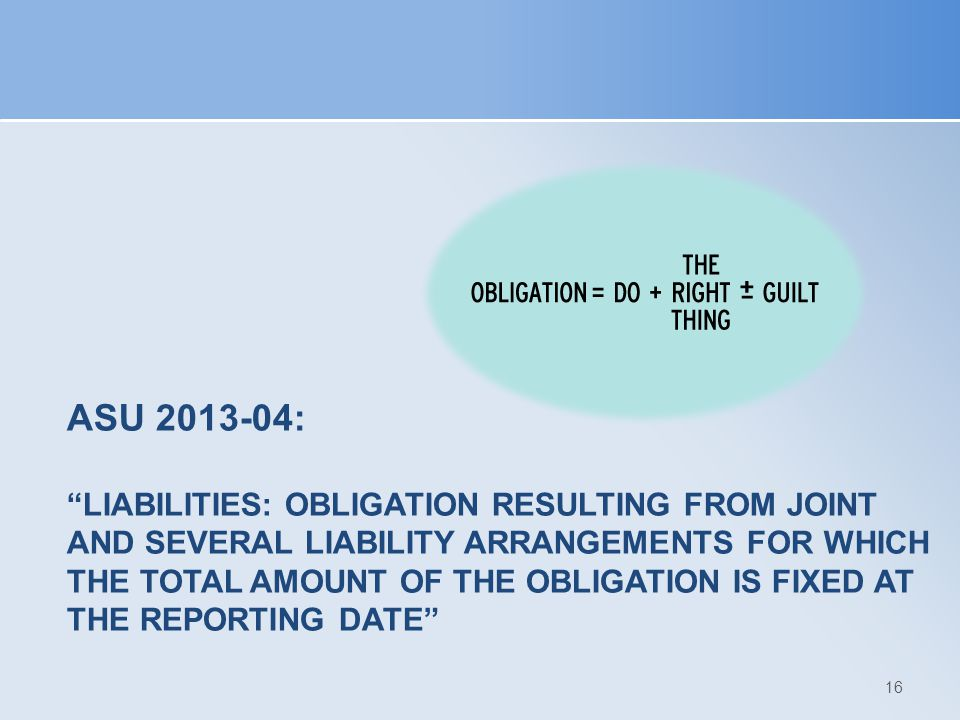 ASU 2013-04: Liabilities: Obligation Resulting from Joint and Several Liability Arrangements for Which the Total Amount of the Obligation is Fixed at the Reporting Date