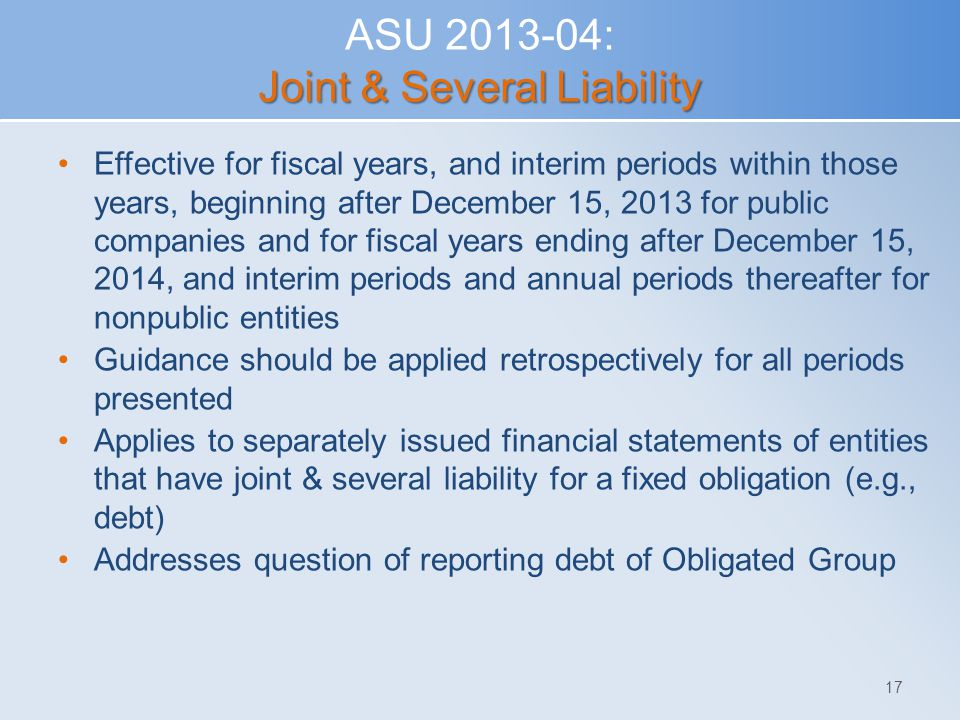 ASU 2013-04: Joint & Several Liability