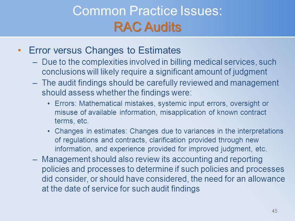 Common Practice Issues: RAC Audits