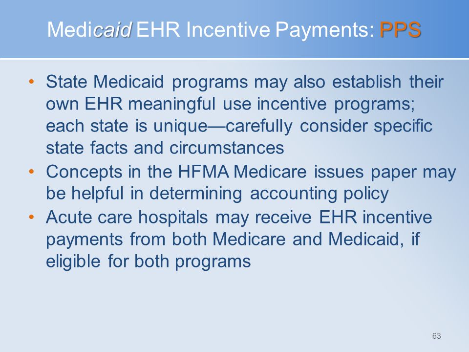 Medicaid EHR Incentive Payments: PPS