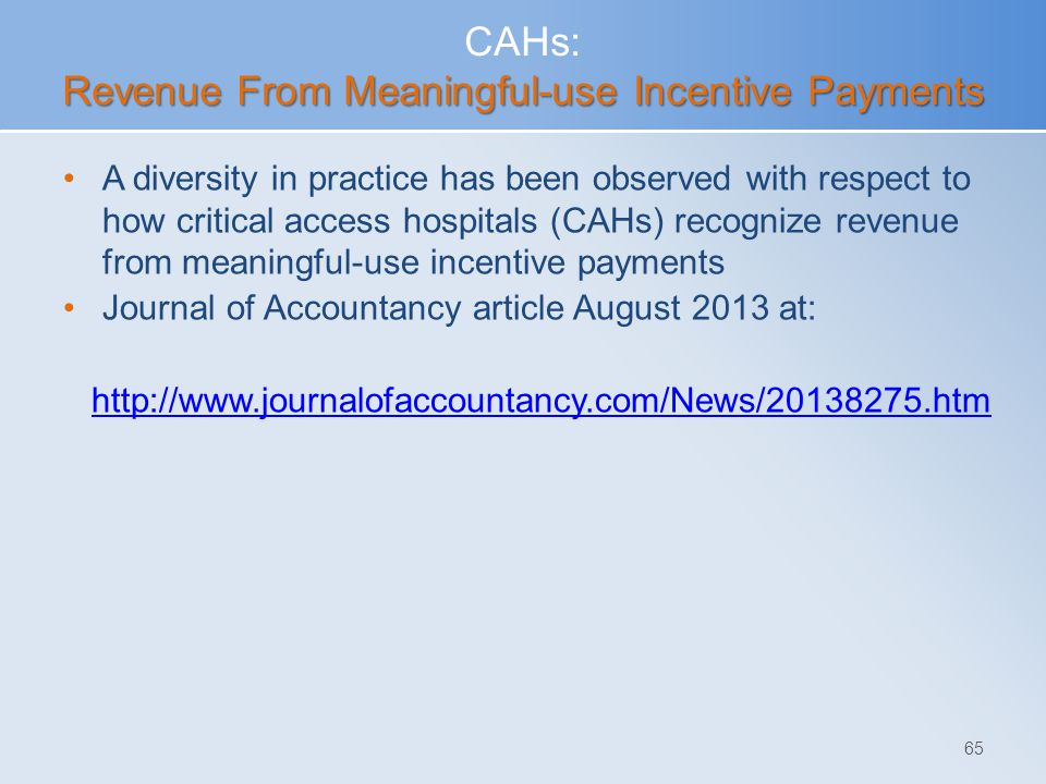 CAHs: Revenue From Meaningful-use Incentive Payments