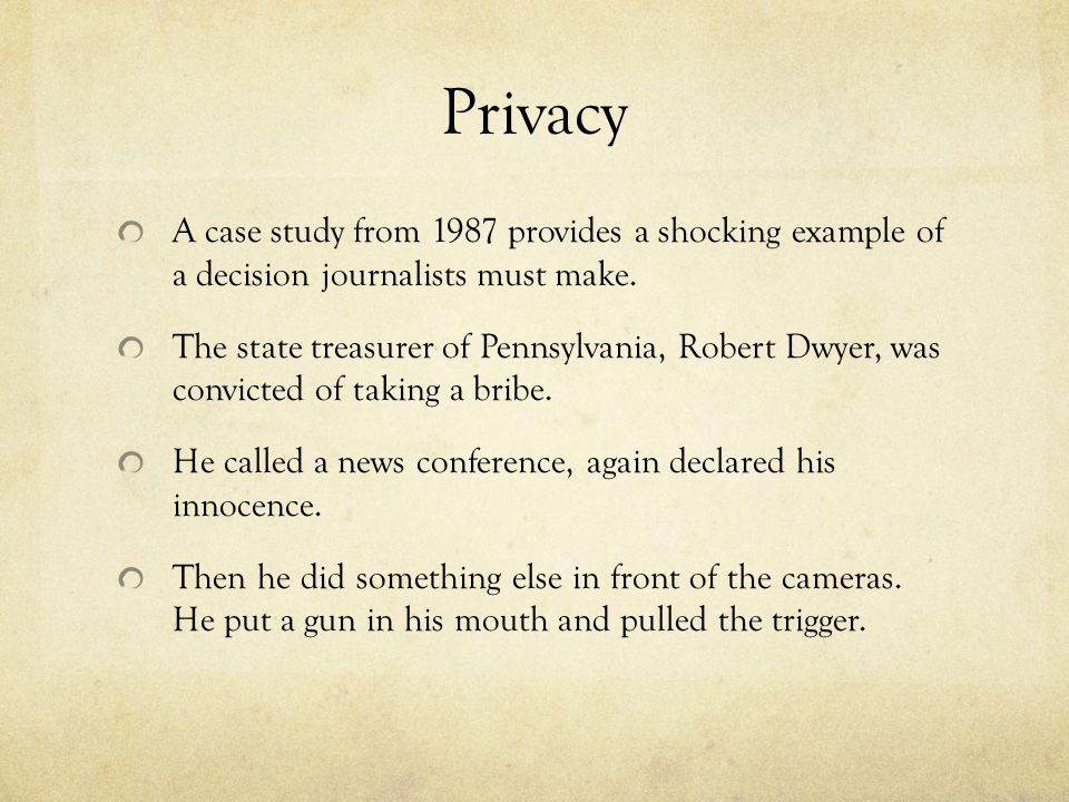 Privacy A case study from 1987 provides a shocking example of a decision journalists must make.