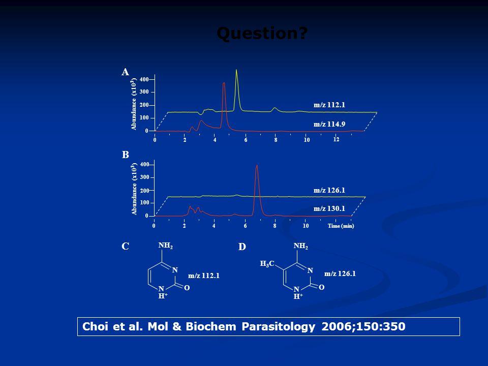 Question A B C D Choi et al. Mol & Biochem Parasitology 2006;150:350