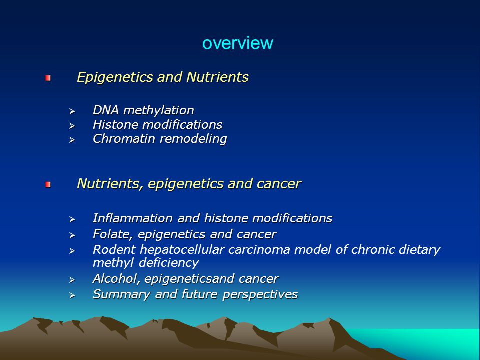 overview Epigenetics and Nutrients Nutrients, epigenetics and cancer