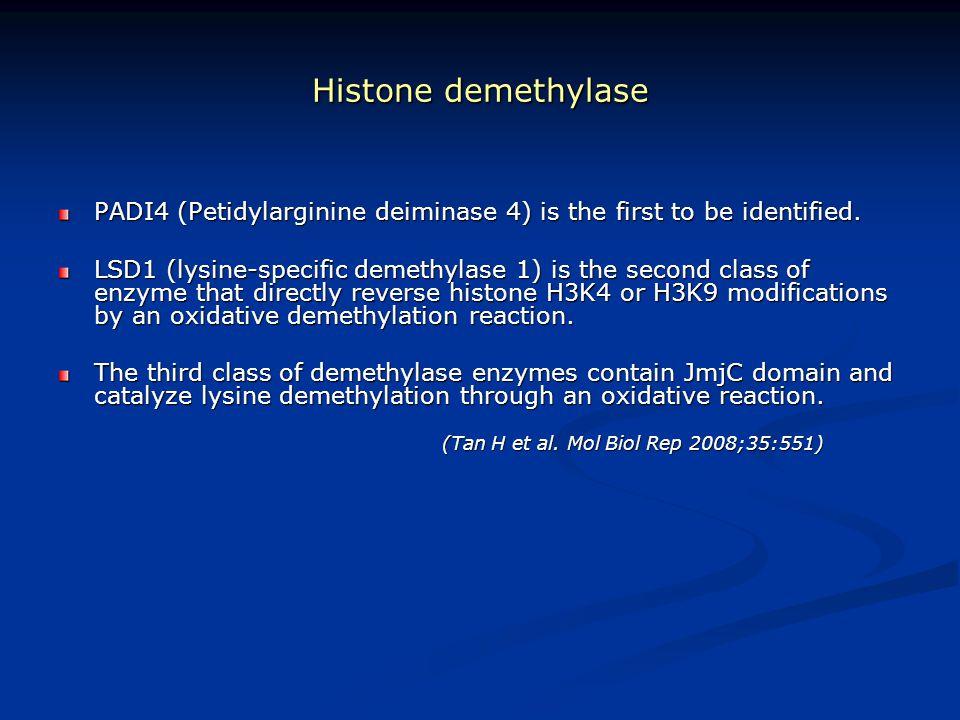 Histone demethylase PADI4 (Petidylarginine deiminase 4) is the first to be identified.