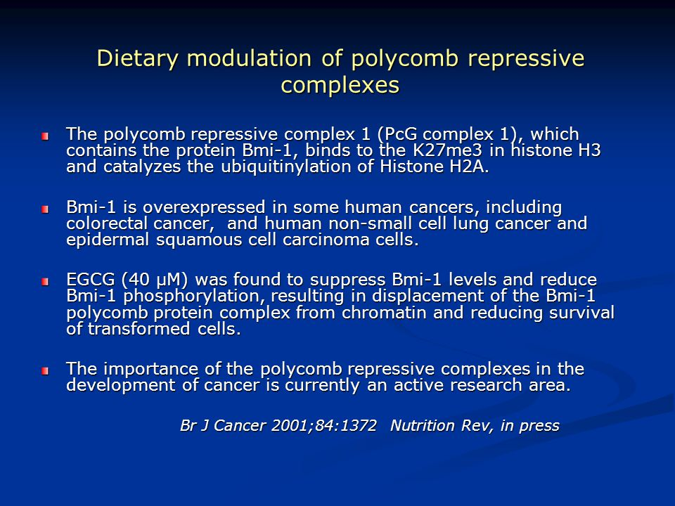 Dietary modulation of polycomb repressive complexes
