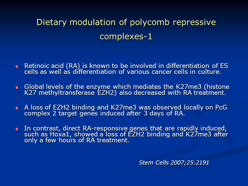 Dietary modulation of polycomb repressive complexes-1