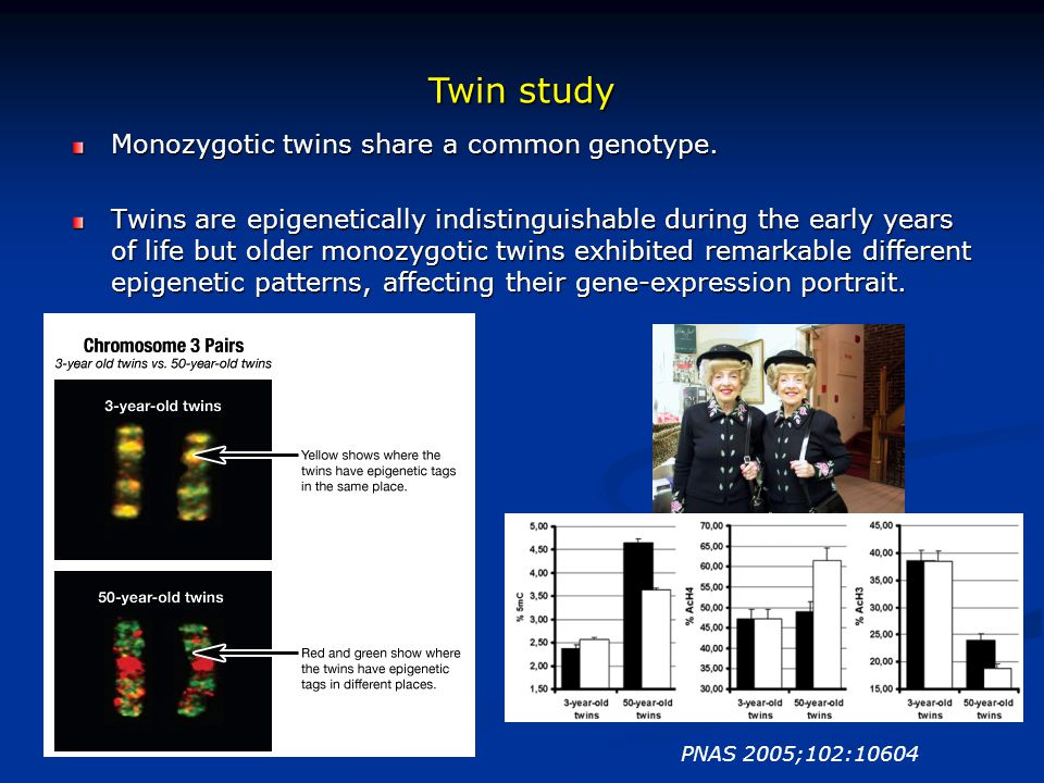 Twin study Monozygotic twins share a common genotype.