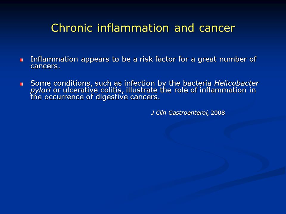 Chronic inflammation and cancer