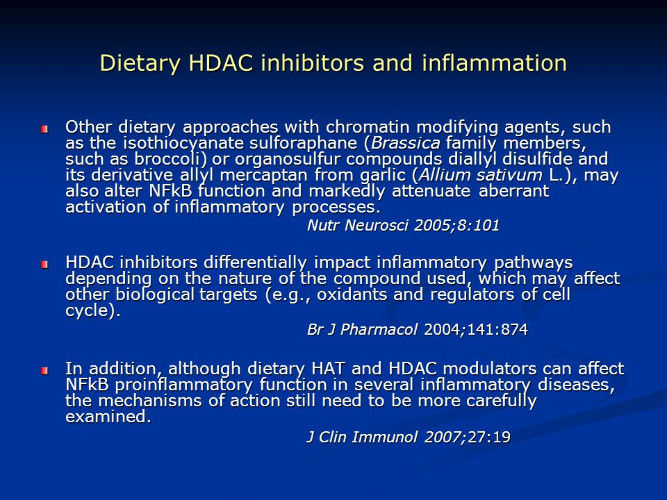 Dietary HDAC inhibitors and inflammation