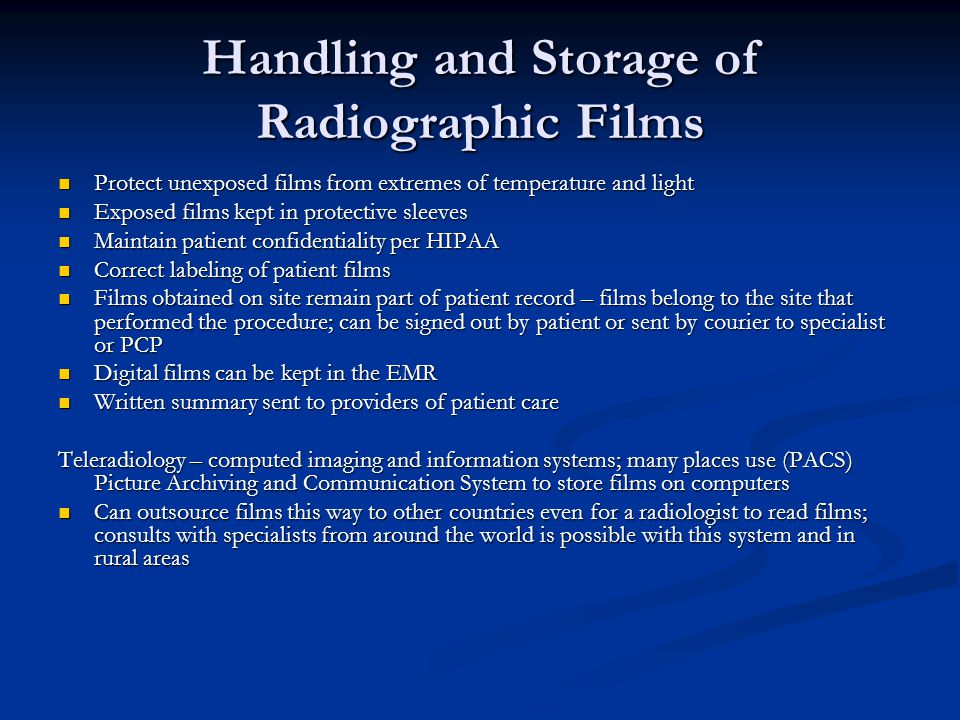 Handling and Storage of Radiographic Films