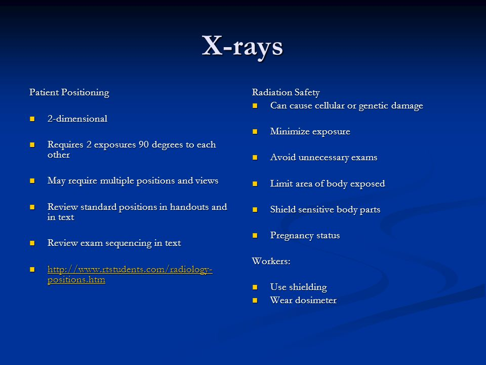 X-rays Patient Positioning 2-dimensional