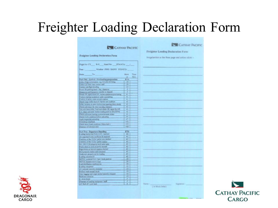 Freighter Loading Declaration Form