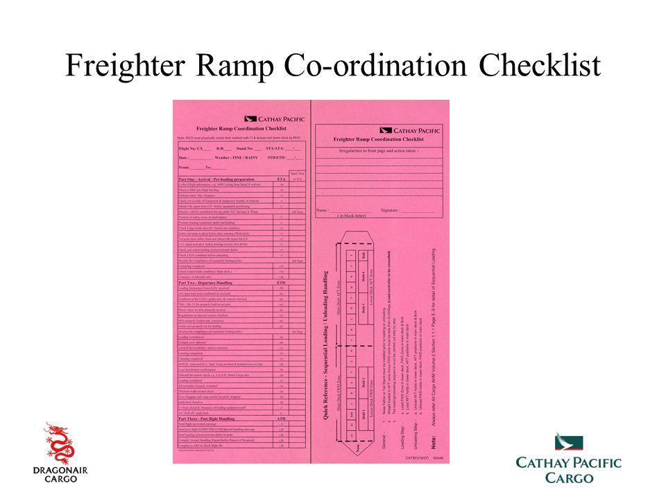 Freighter Ramp Co-ordination Checklist