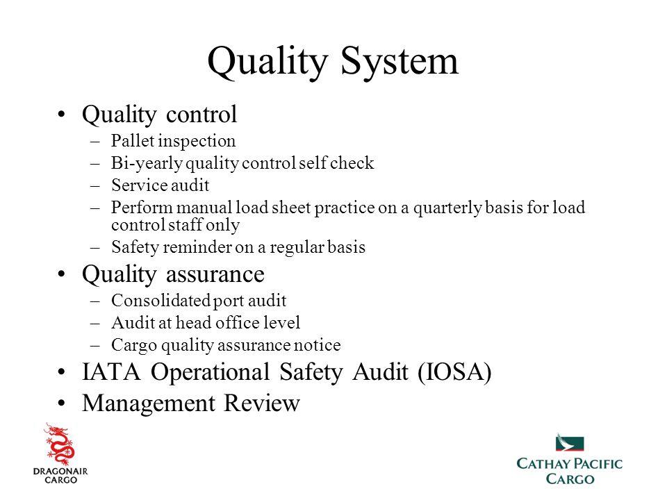 Quality System Quality control Quality assurance