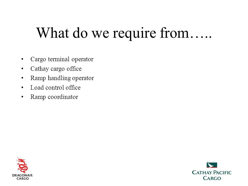What do we require from…..