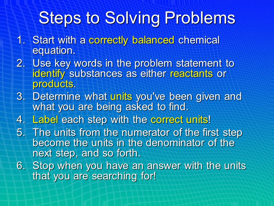 Steps to Solving Problems