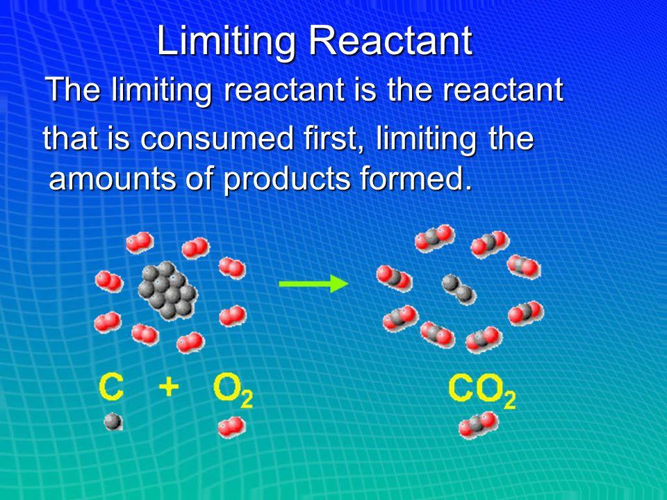 Limiting Reactant The limiting reactant is the reactant