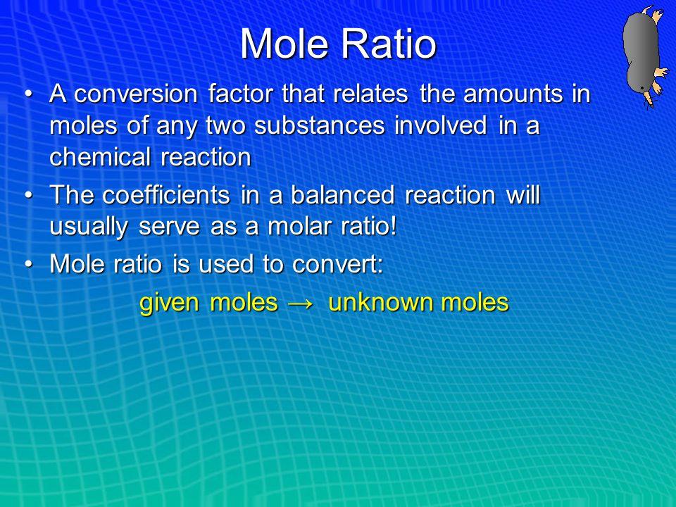 given moles → unknown moles