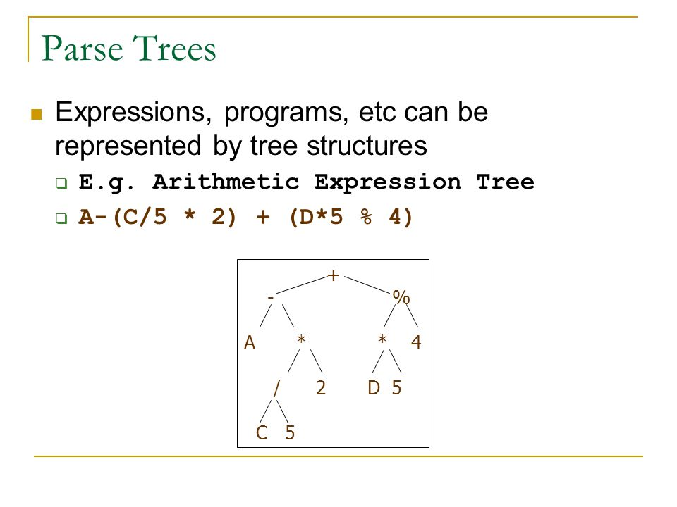 Parse Trees Expressions, programs, etc can be represented by tree structures. E.g. Arithmetic Expression Tree.