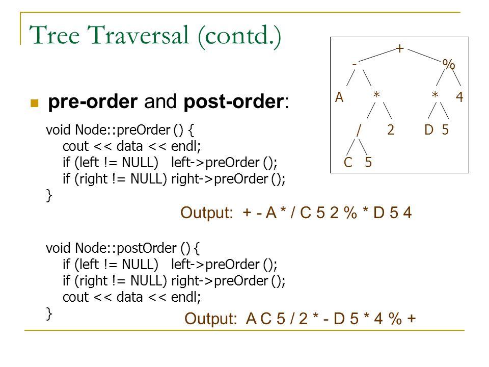 Tree Traversal (contd.)