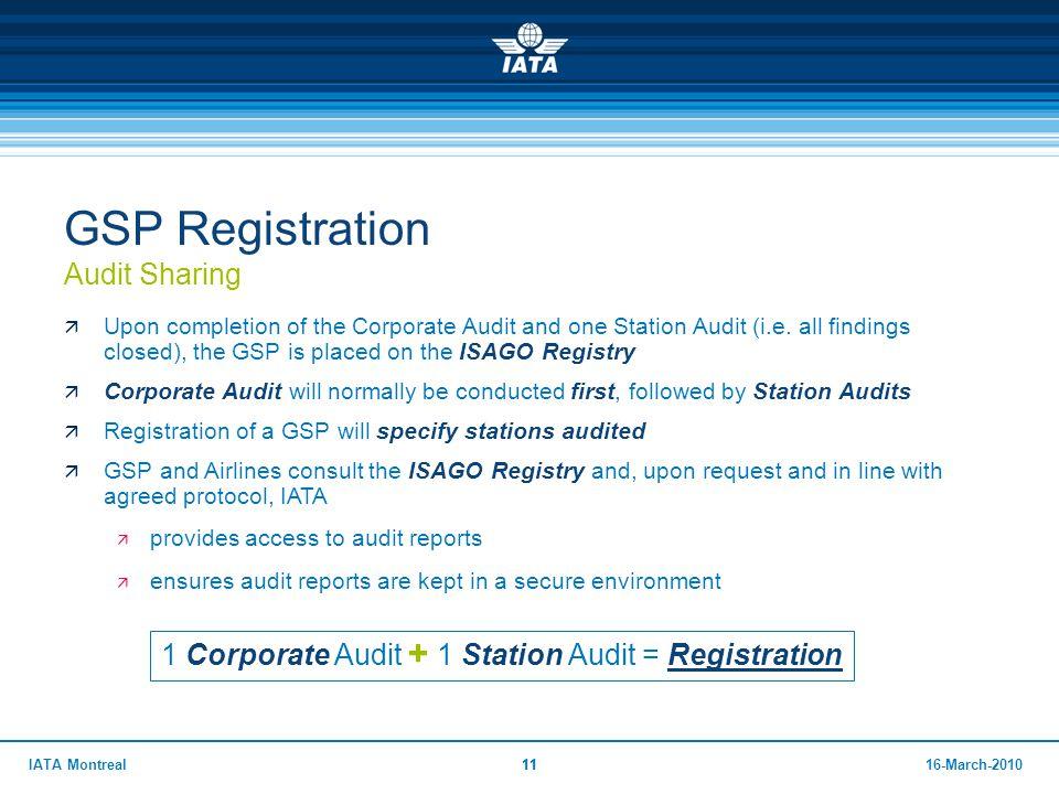 GSP Registration Audit Sharing