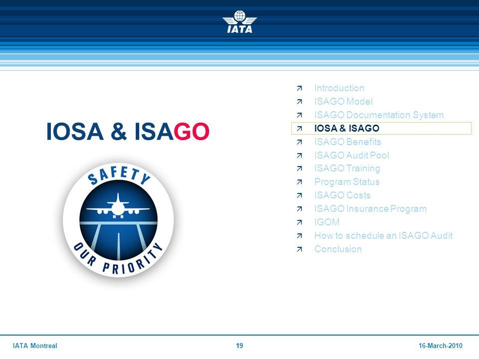 IOSA & ISAGO Introduction ISAGO Model ISAGO Documentation System