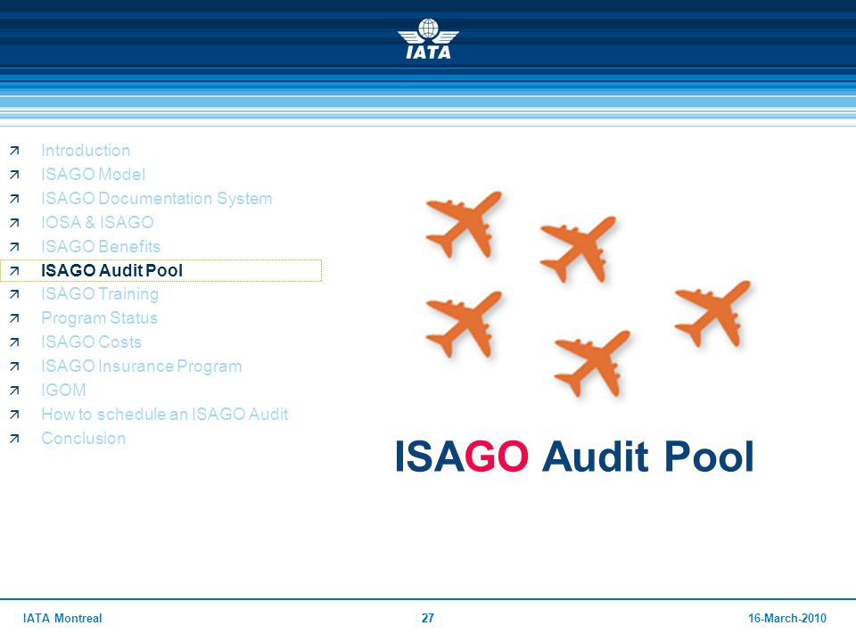ISAGO Audit Pool Introduction ISAGO Model ISAGO Documentation System