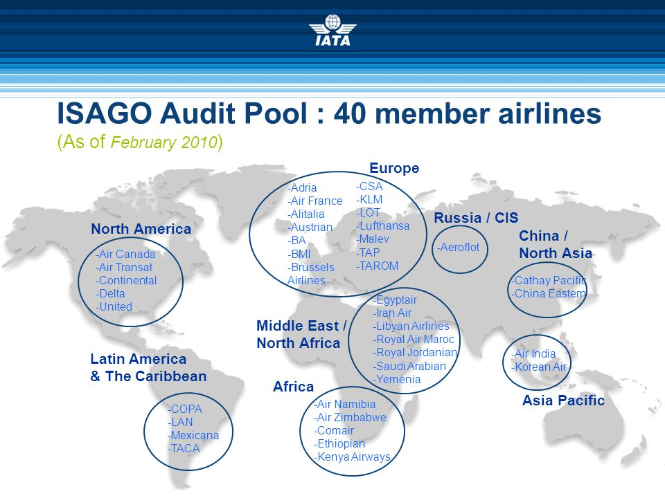 ISAGO Audit Pool : 40 member airlines (As of February 2010)