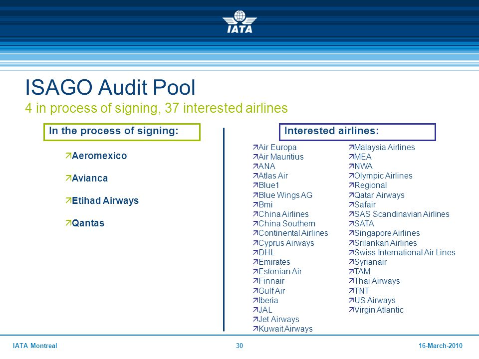 ISAGO Audit Pool 4 in process of signing, 37 interested airlines