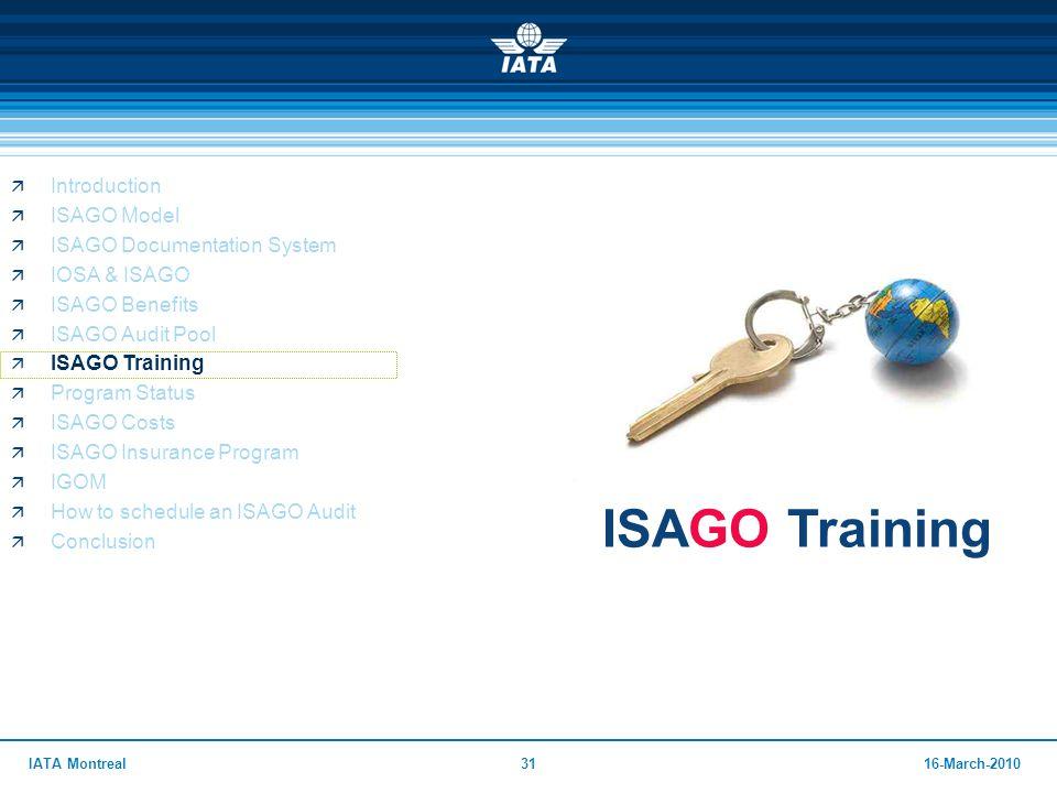 ISAGO Training Introduction ISAGO Model ISAGO Documentation System