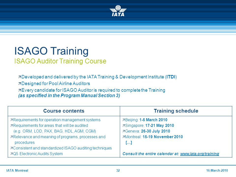 Isago Training Auditor Standards Manual Iata