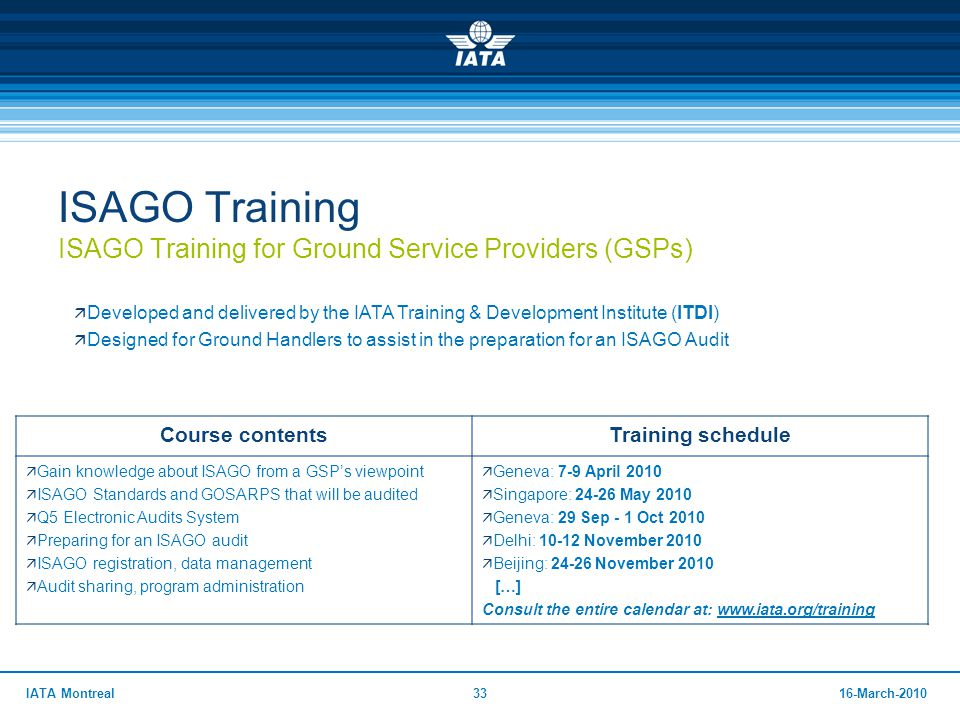 ISAGO Training ISAGO Training for Ground Service Providers (GSPs)