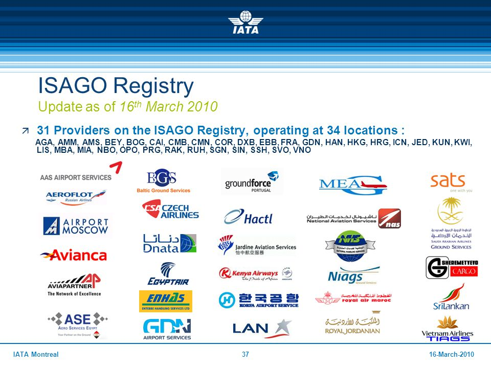 ISAGO Registry Update as of 16th March 2010