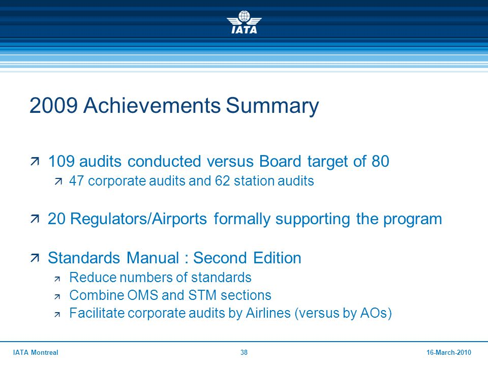 2009 Achievements Summary 109 audits conducted versus Board target of 80. 47 corporate audits and 62 station audits.