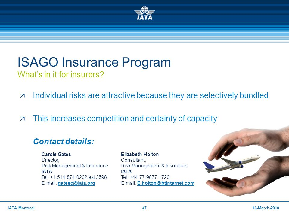ISAGO Insurance Program What's in it for insurers