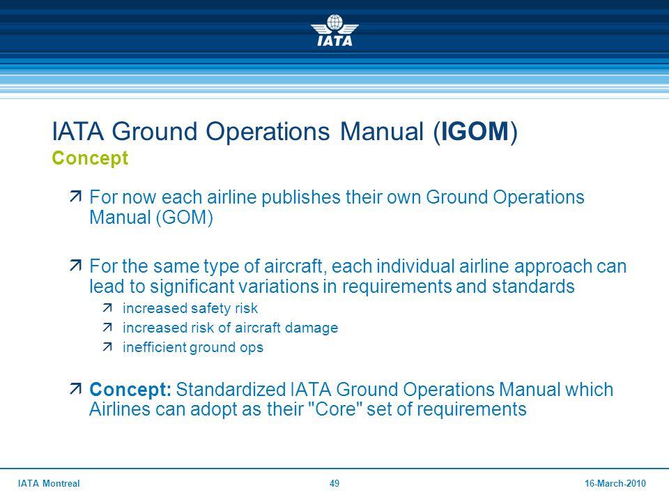 IATA Ground Operations Manual (IGOM) Concept