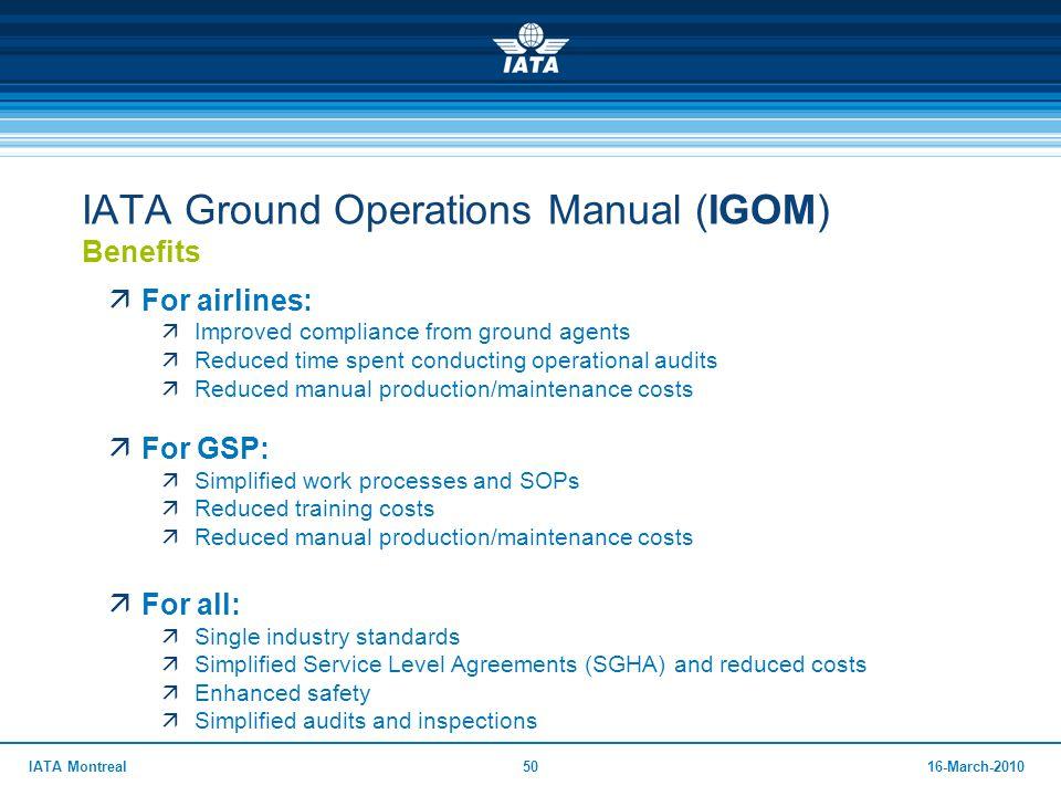 IATA Ground Operations Manual (IGOM) Benefits