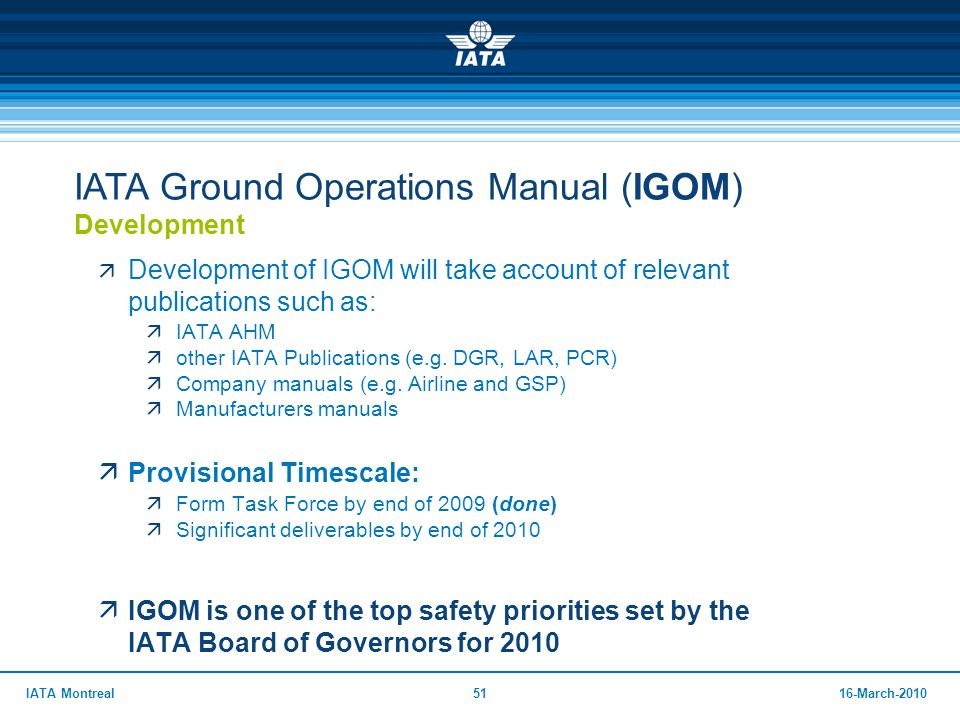 IATA Ground Operations Manual (IGOM) Development
