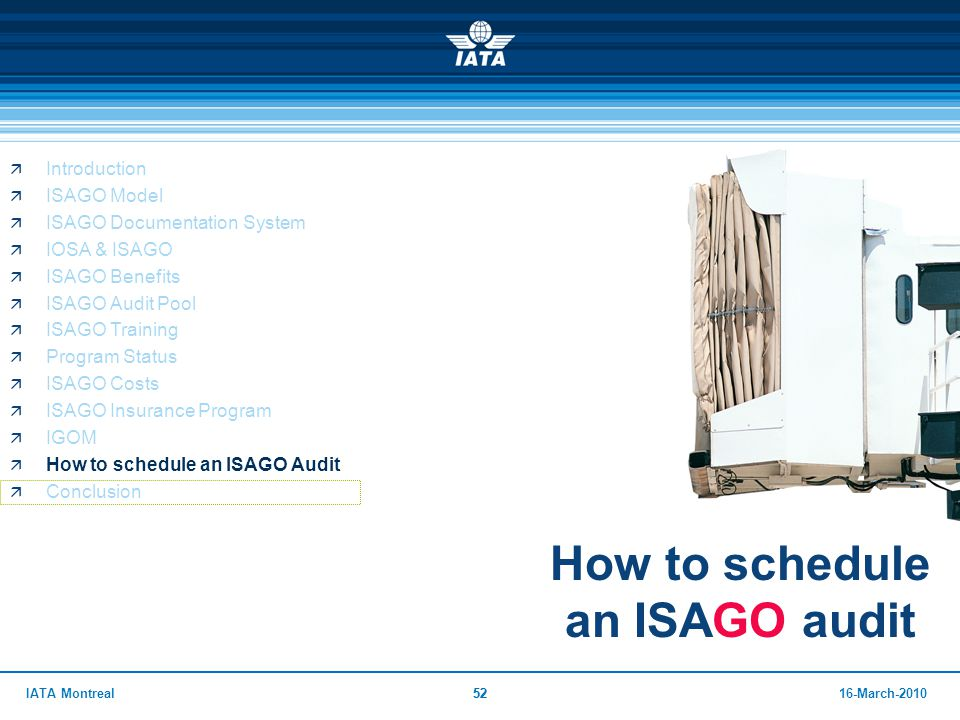 How to schedule an ISAGO audit