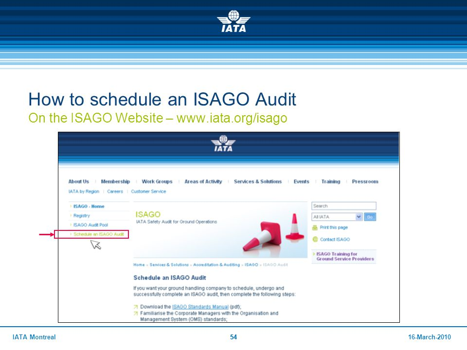 How to schedule an ISAGO Audit On the ISAGO Website – www. iata