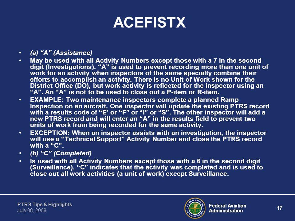 ACEFISTX (a) A (Assistance)