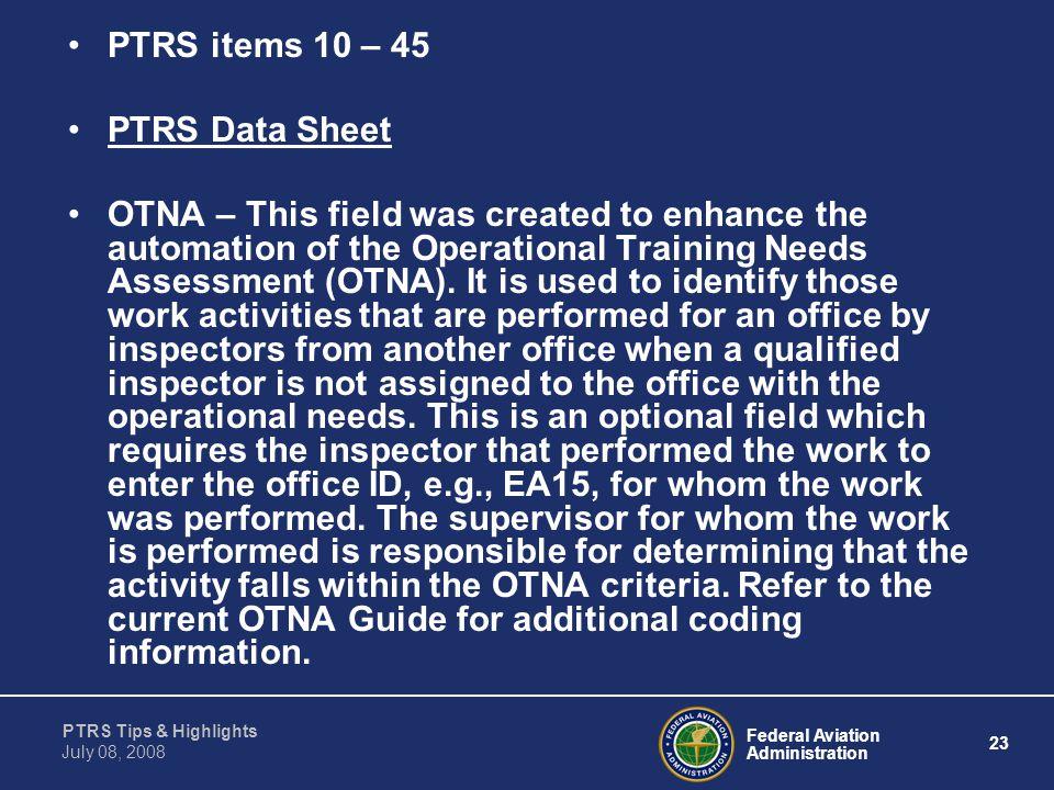 PTRS items 10 – 45 PTRS Data Sheet.