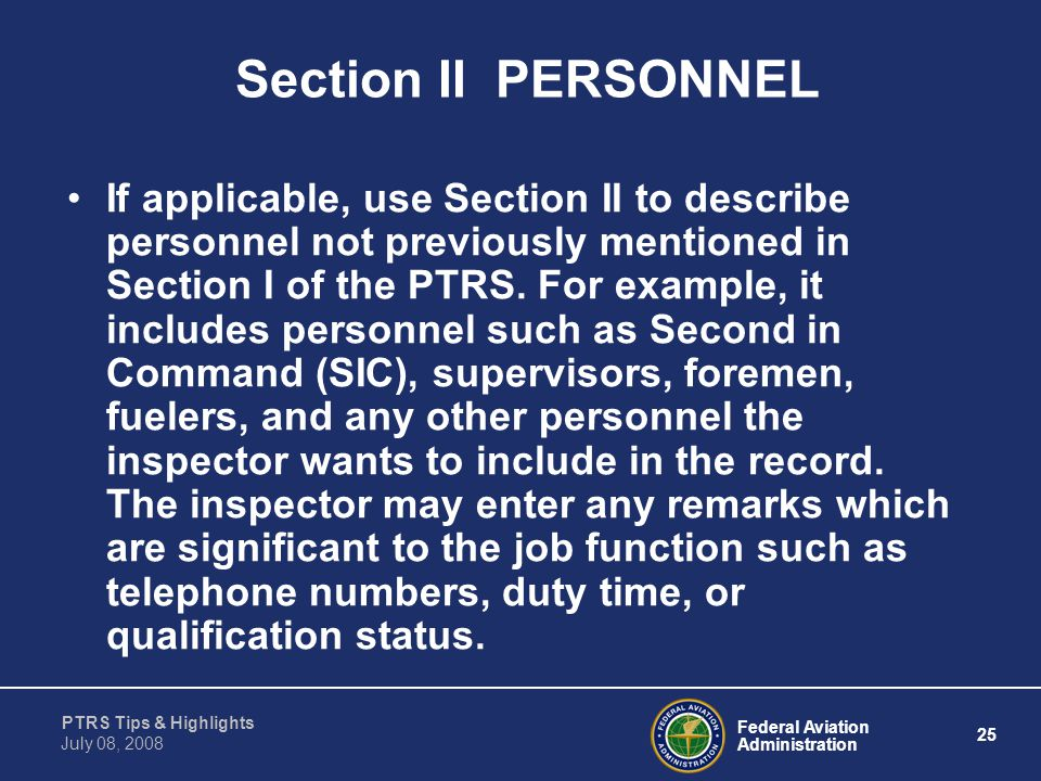 Section II PERSONNEL