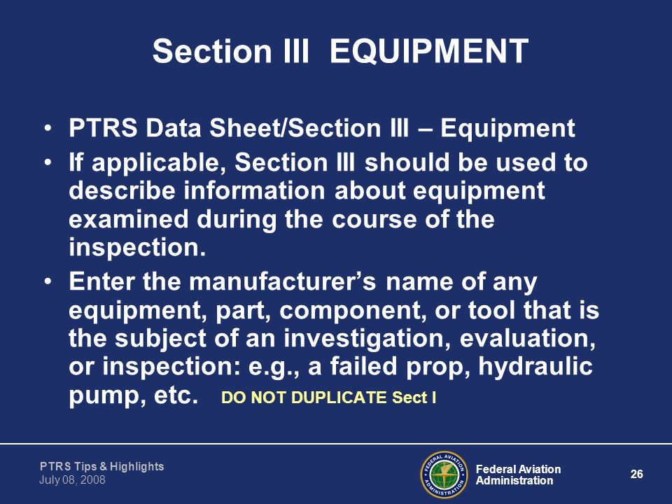 Section III EQUIPMENT PTRS Data Sheet/Section III – Equipment