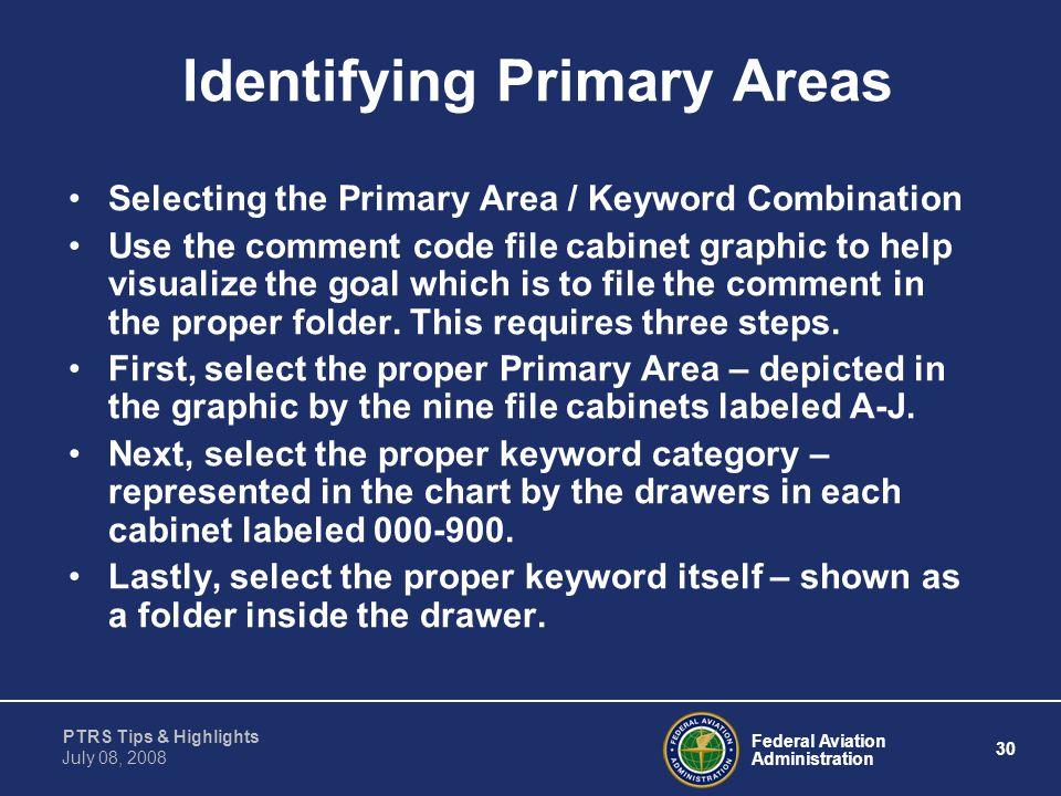Identifying Primary Areas