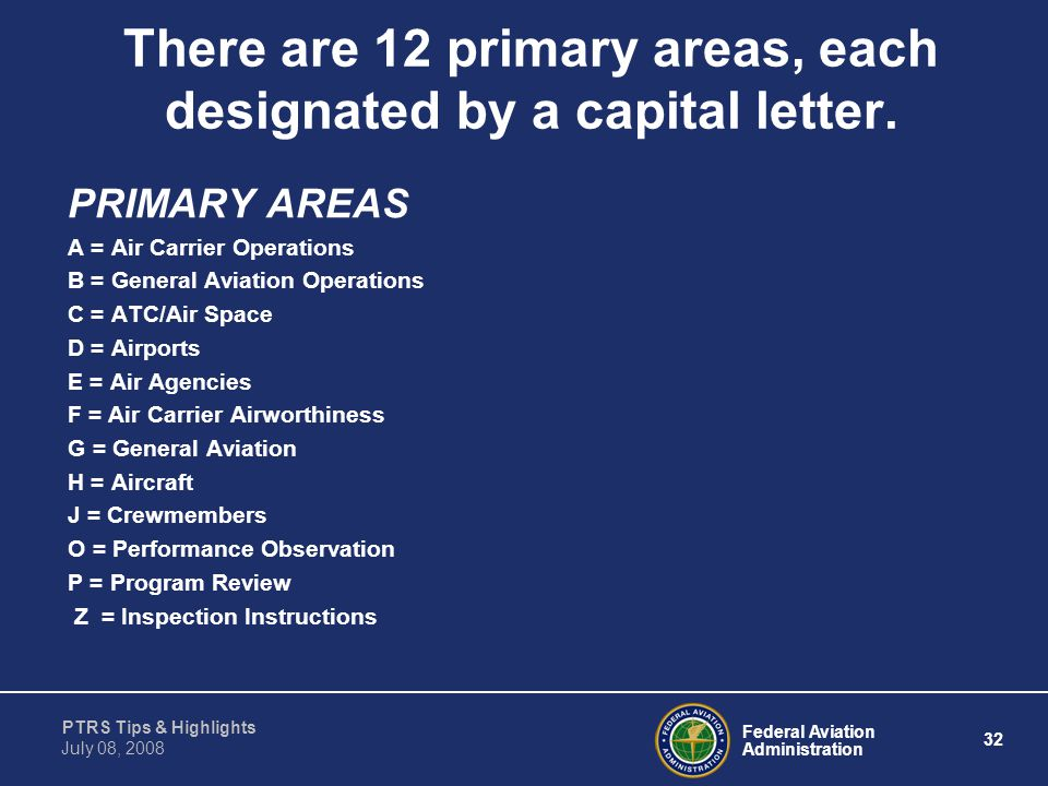 There are 12 primary areas, each designated by a capital letter.