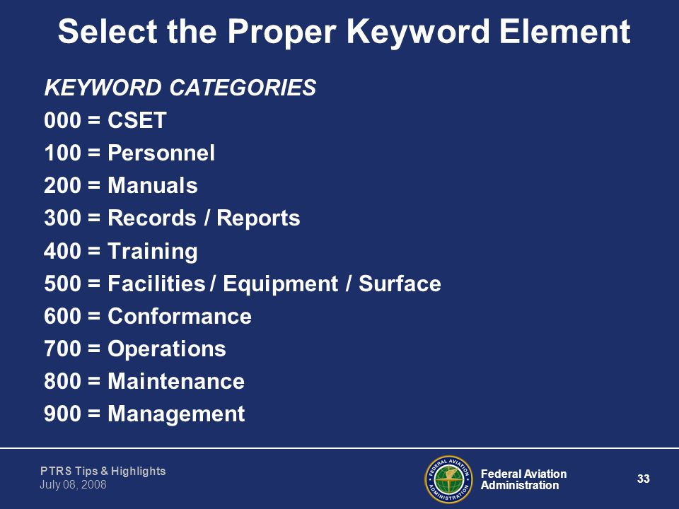 Select the Proper Keyword Element