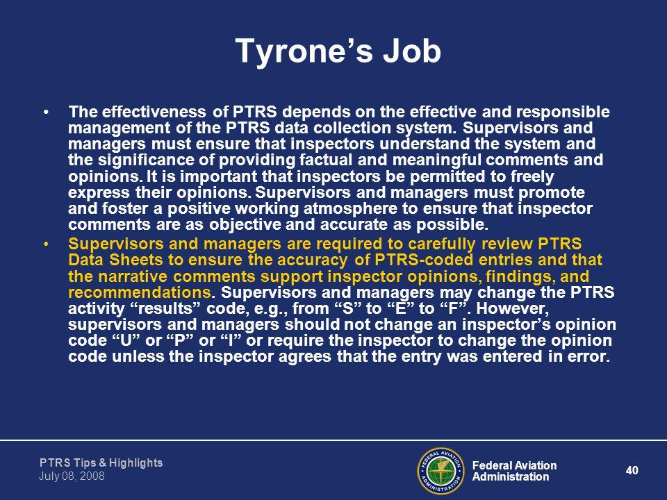 Tyrone's Job