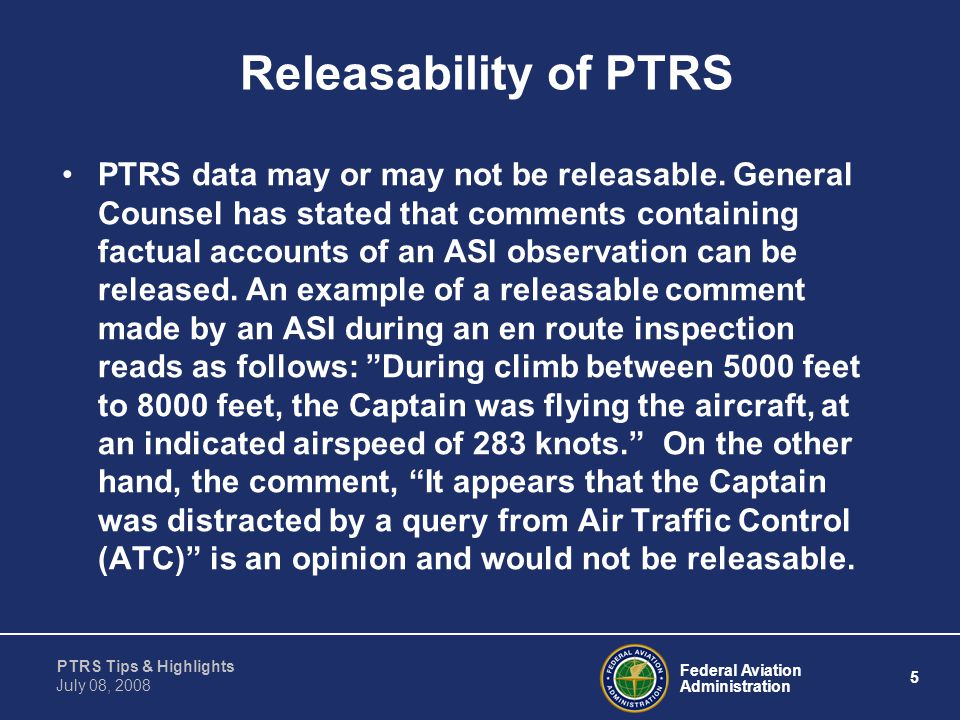 Releasability of PTRS